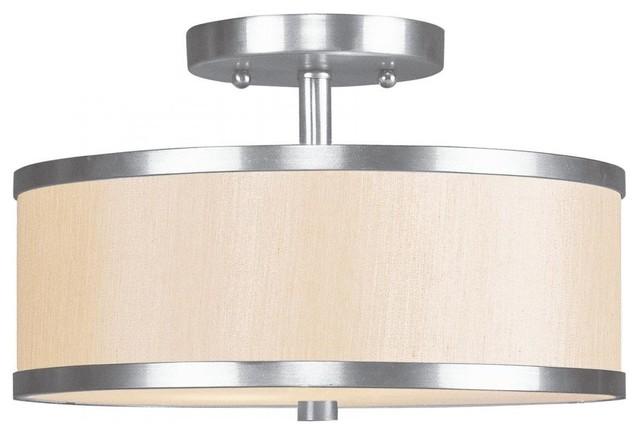 Brushed Nickel Drum Shade Semi Flush Mount Contemporary