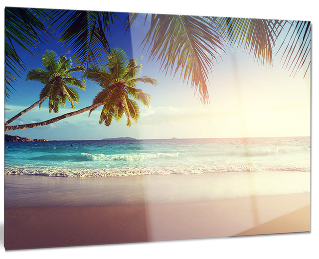 Metal wall art beach decor : Quot typical sunset on seychelles beach metal wall art