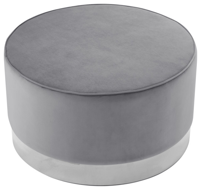 Nicole Miller Jacoby Cocktail Ottoman With Chrome or Gold Trim Base, Gray Velvet