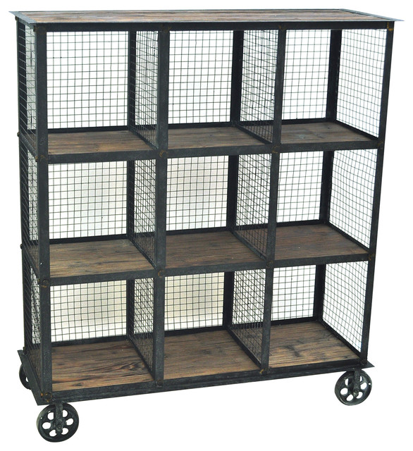 Industria Metal And Wood Bookcase 37x13.5x41.5
