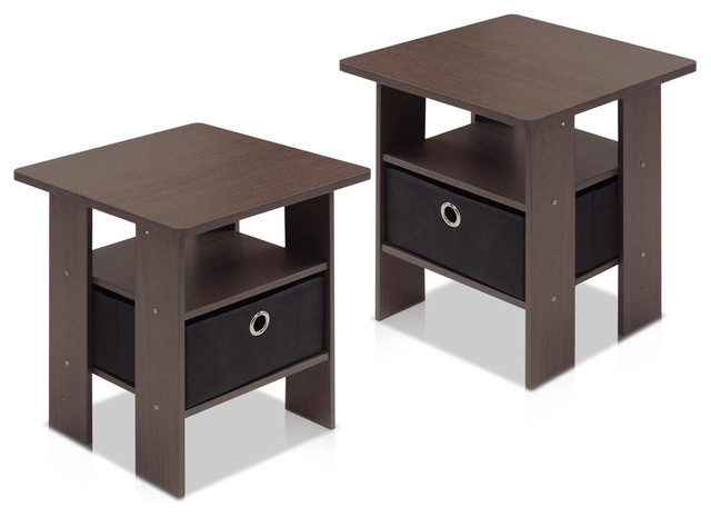 Furinno Petite End Table, Set Of 2, Dark Brown.