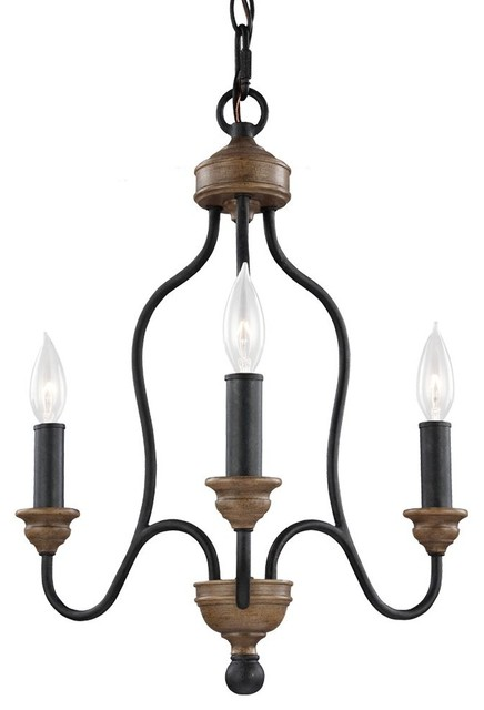 Feiss F2997 Hartsville 3 Light Chandelier Farmhouse