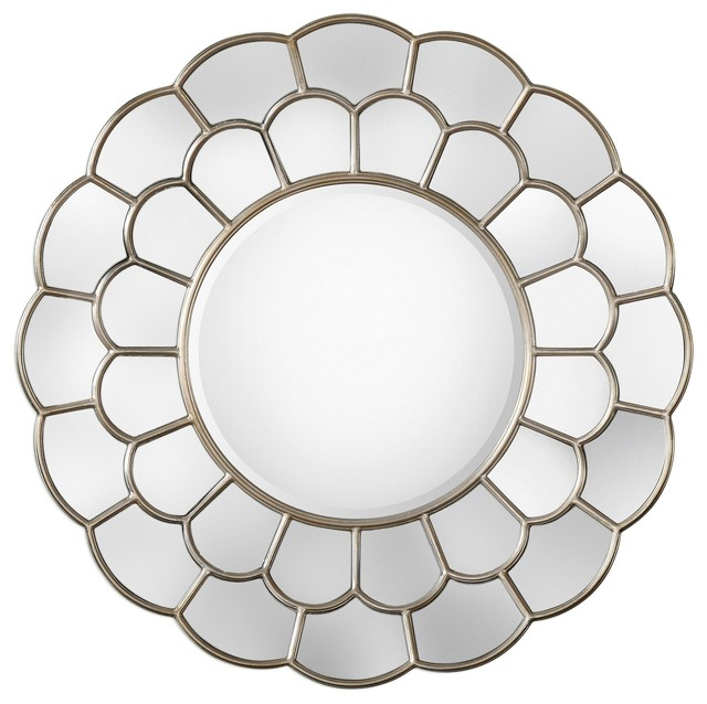 large flower shaped round wall mirror floral petals blossom romantic