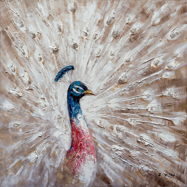 """the Curious Peacock"" Hand Painted Canvas Art, 40""x40""."