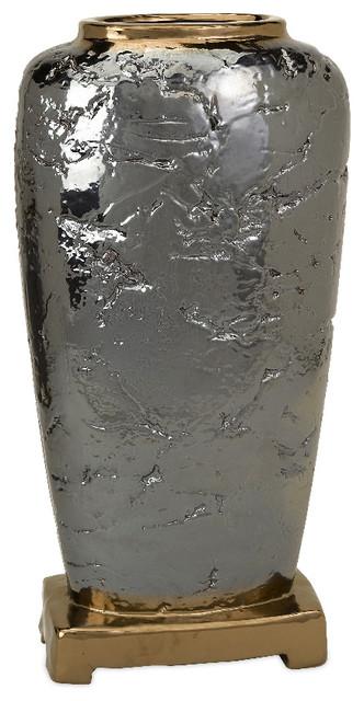 Cki Terril Antique Style Large Grey Vase Ceramic Accent Decor