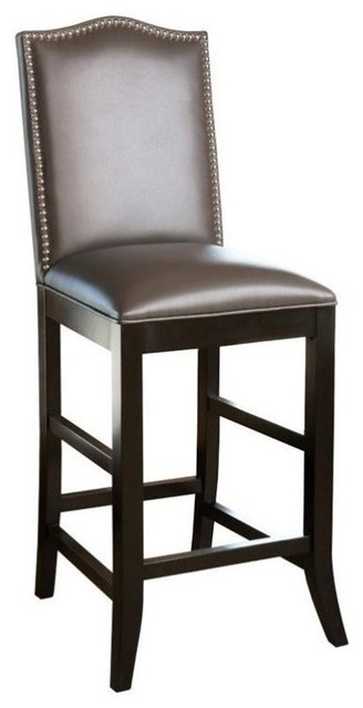Abbyson Living Royal 30 Quot Leather Nailhead Trim Bar Stool