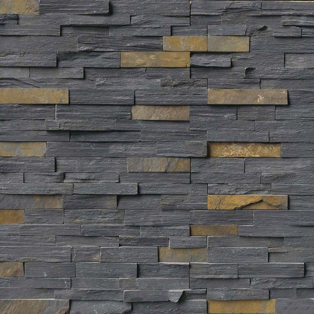 Contemporary Wall Tile charcoal rust ledger panel natural quartzite wall tile