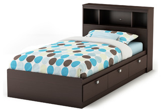 South Shore Spark Twin Storage Bed And Bookcase Headboard, Chocolate