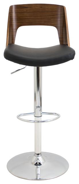 lumisource Valencia Adjustable Barstool in Walnut Wood, Black