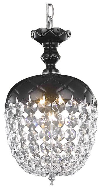 Harvest Design 1 Light 8 Black Chandelier With Clear Asfour Crystals