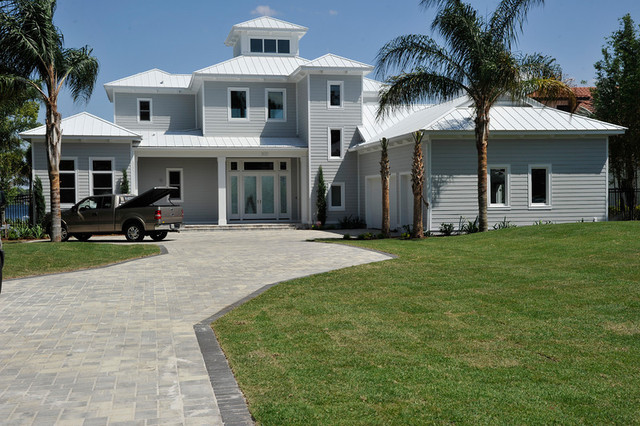 Lake houses beach style exterior orlando by for Beach house gray paint colors