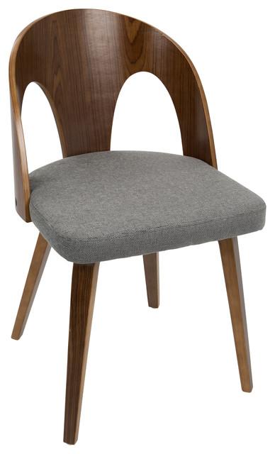 Ava Mid-Century Modern Dining Chair, Walnut Wood And Gray Fabric.