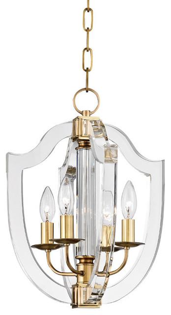"Arietta, 13"" Pendant, Aged Brass Finish, Clear Glass."
