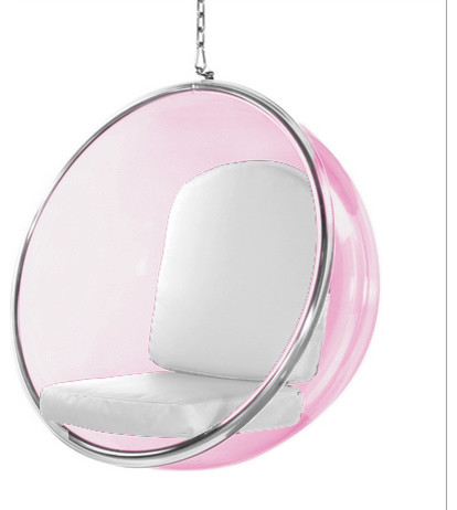 Bubble Hanging Pink Acrylic Chair White Cushion  sc 1 st  Houzz & Bubble Hanging Pink Acrylic Chair - Hanging Chairs - by In Style Modern
