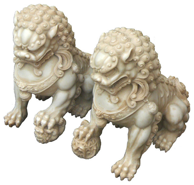 Pair Chinese Hand Carving White Marble FenShui Foo Dogs