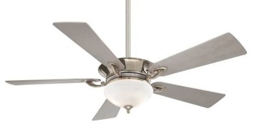 "52"" Delano Ceiling Fan, Polished Nickel."