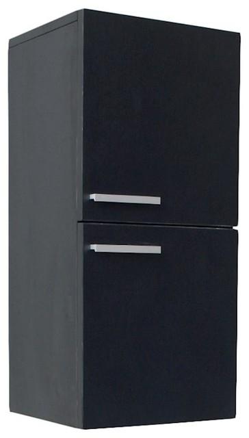 Fresca Black Bathroom Linen Side Cabinet 2 Storage Areas