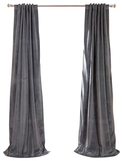 Signature Blackout Velvet Single-Panel Curtain, Gray