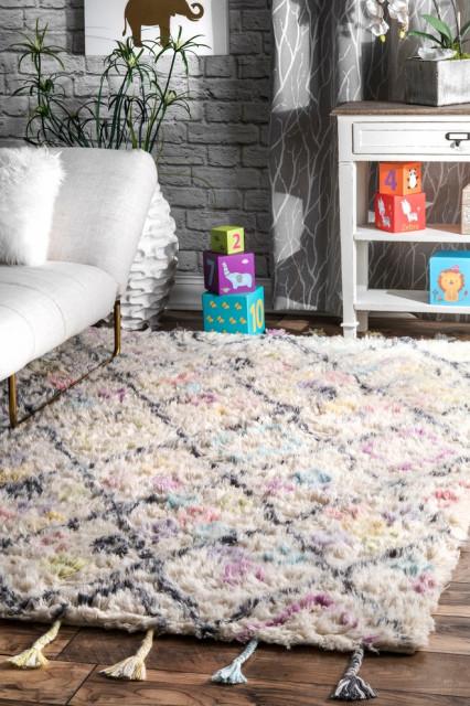 Pastel Diamonds Nursery Wool Area Rug