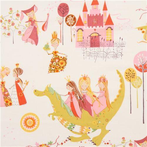 white Alexander Henry fairy tale fabric princess dragon