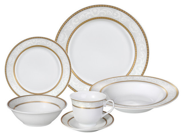 24 Piece Fine Wavy Edge Porcelain Dinnerware Set Amelia design Amelia  sc 1 st  Houzz : home dinnerware set - pezcame.com