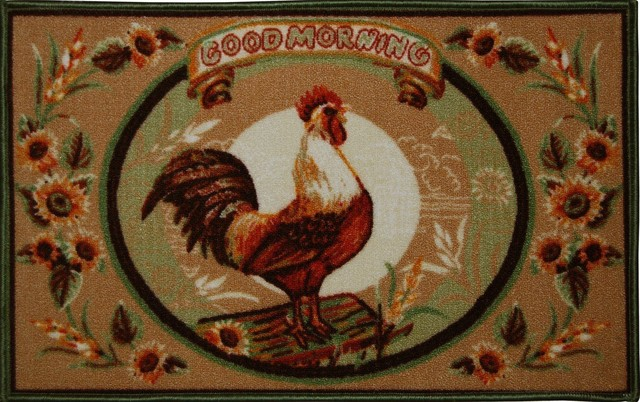 Living Classics Good Morning Rooster Kitchen Rug Non Skid Back