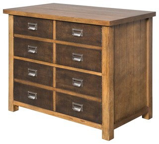 Lateral File Cabinet, Hickory Finish - Rustic - Filing Cabinets - by ShopLadder