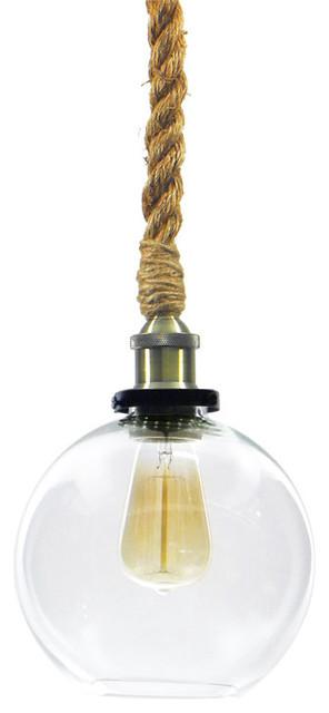Hangout Lighting Globe Shade Rope Pendant Antique Brass