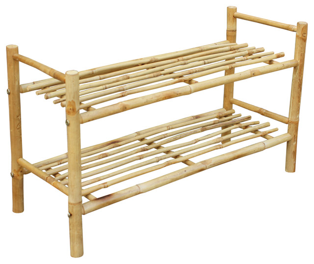 2 shelf bamboo shoe rack