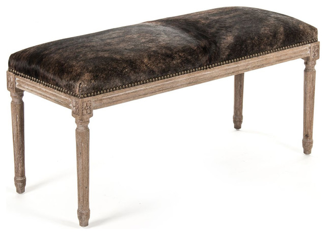 Lille French Country Louis Xvi Brindle Hair On Hide Oak Bench.