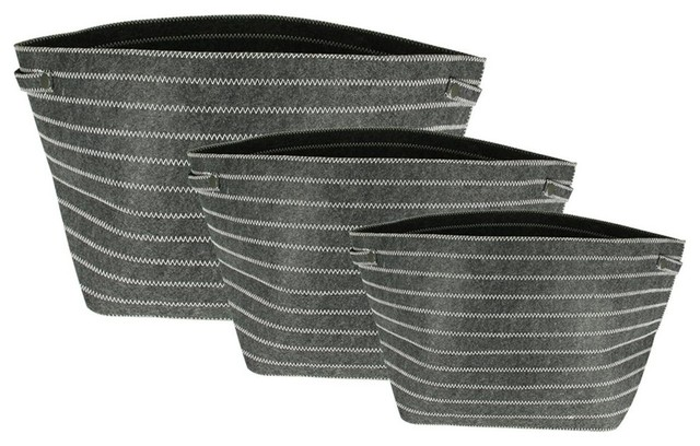 e358aa0804cf Urban Life White Zig Zag Tote Storage Bags, 3-Piece Set, Dark Gray