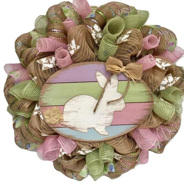 Pastel Easter Bunny Deco Mesh Wreath Handmade Wreath.