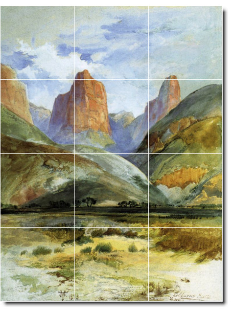 Picture tiles llc thomas moran landscapes painting for Ceramic mural painting