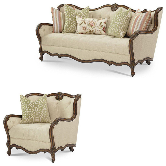 Lavelle Melange 2 Wood Trim Sofa Set 2 Piece Set
