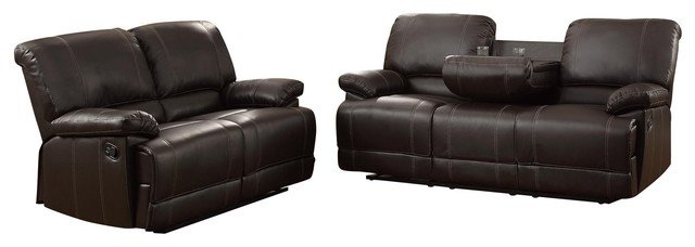 2 Piece Cadoret Set Double Reclining Cup Holder Sofa Love Seat Brown Leather