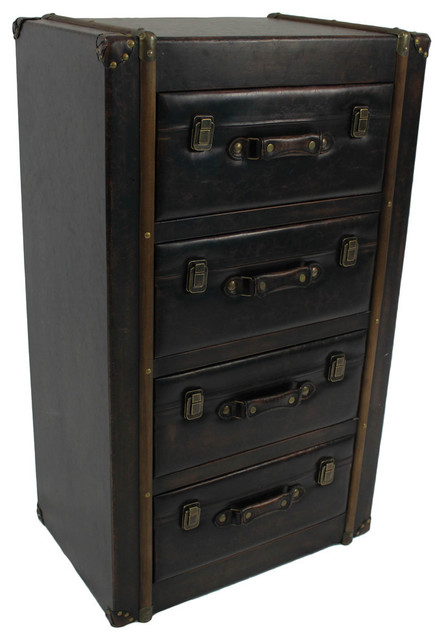 4 Drawer Faux Leather Chest Antique Black