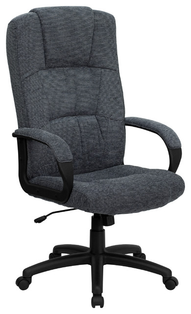 High-Back Fabric Executive Office Chair, Gray.