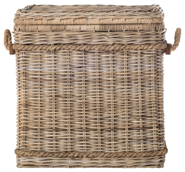 Safavieh Sidonie Wicker Hamper, Gray.
