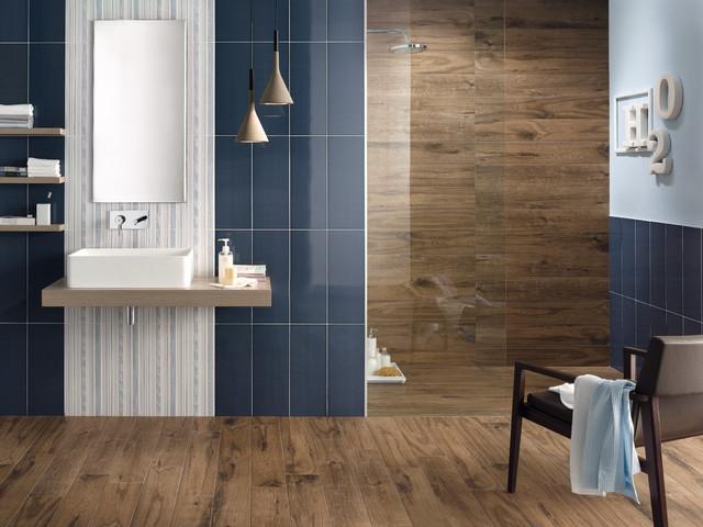 Effetto legno moderno bologna di iperceramica - Piastrelle bagno legno ...