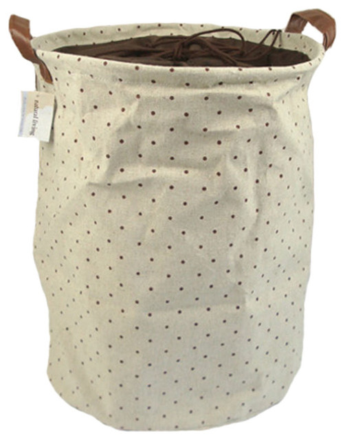 Japanese Style Foldable Storage Basket, Bag, Organizer Laundry Hamper, Dots.