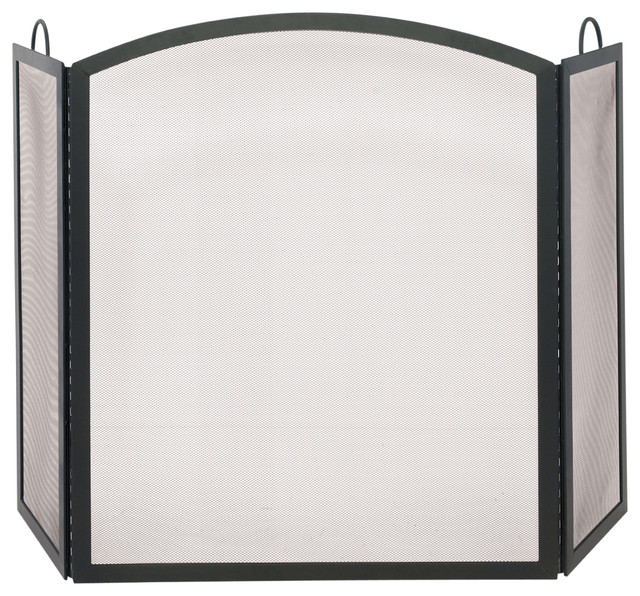 tri fold large fireplace screen w arched middle panel