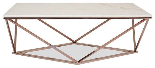Aria Rose Gold Coffee Table With White Marble Top.