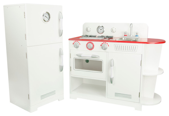 Sous Chef Wooden Kitchen Set, White Contemporary Kids Playsets And Swing