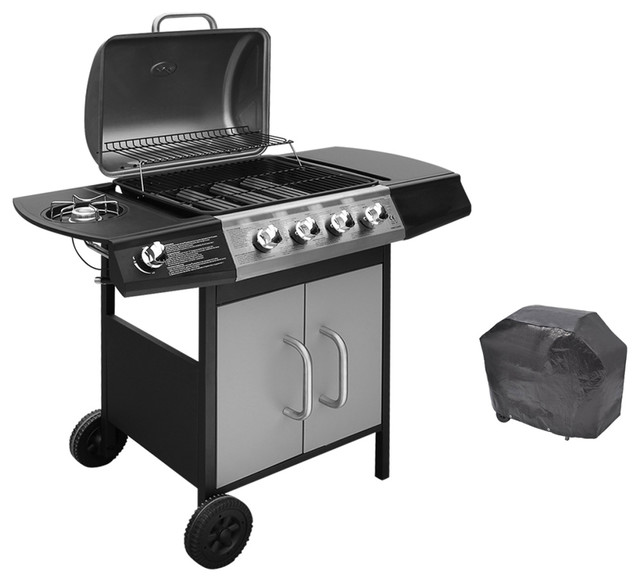Gas Barbecue Grill With 4 Burners and 1 Side Burner, Black and Silver