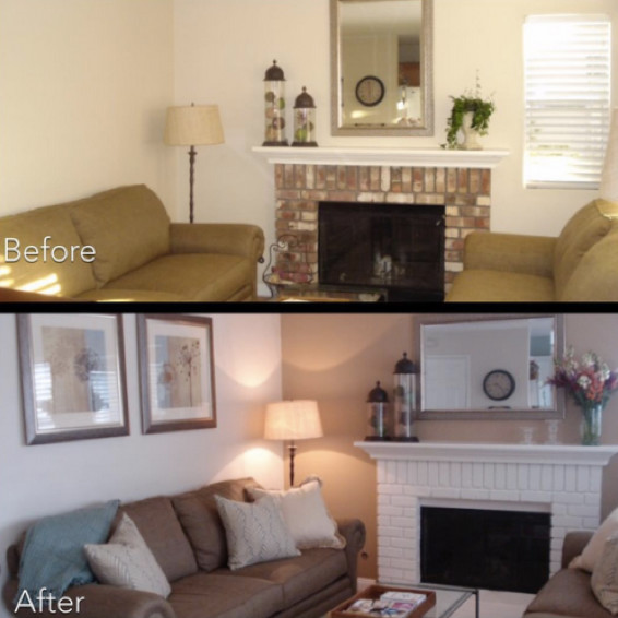 Design on a dime transitional family room los for Apartment design on a dime