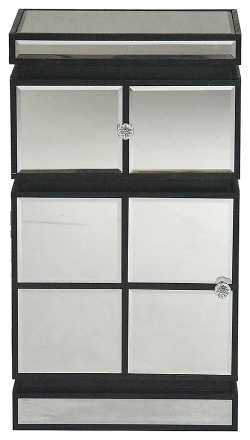1-Drawer, 1-Door Accent Cabinet With Mirror Accents, Black