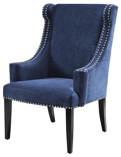 marcel high back wing chair blue