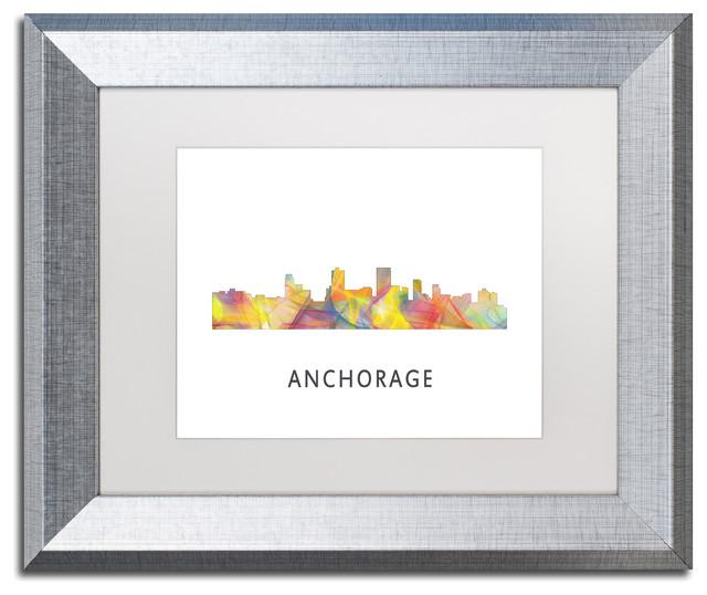 39 Anchorage Alaska Skyline Wb 1 39 Matted Framed Art Contemporary Pr