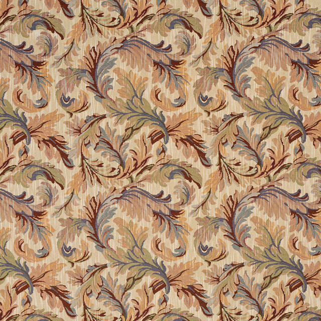 Burgundy, Blue And Green, Floral Leaves Tapestry Upholstery Fabric ...