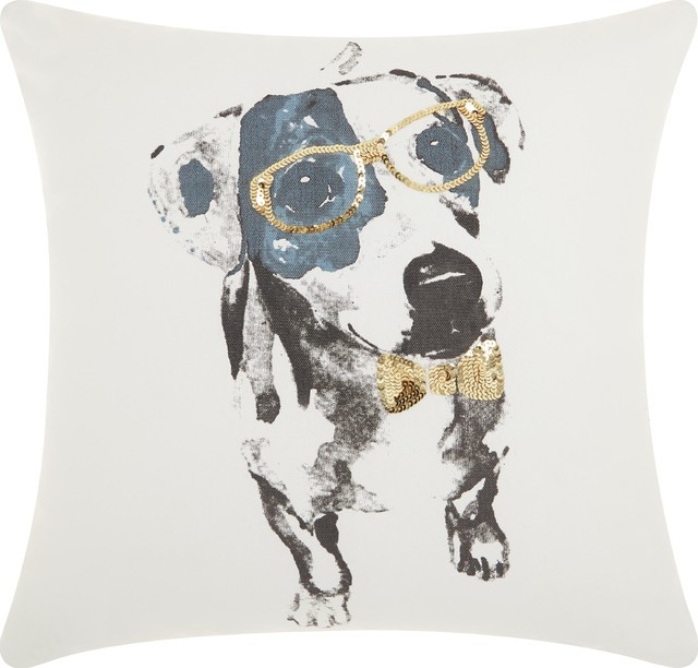 Mina Victory Trendy, Hip, And New Age Glitter Dalmation Gold Throw Pillow.